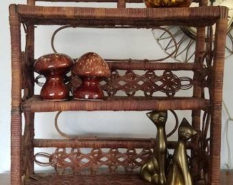 Dark Rattan Wicker Shelf, Wall Shelf