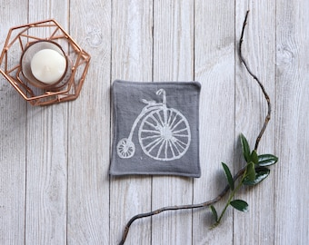 Linen Coaster Drink Coasters Bicycle Print Block Printed Custom Housewarming Gift for Mother Coaster Set Natural Linen Rustic Home Decor