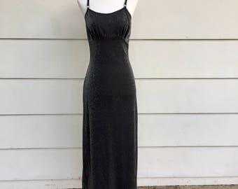Vintage 90s Semi-Sheer Sparkly Gunmetal Gray Maxi Dress by California Concepts