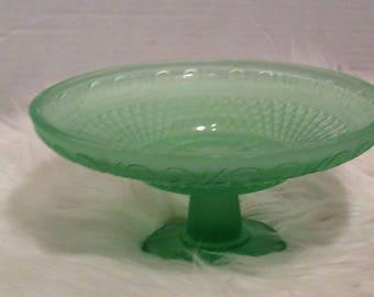 Vintage Frosted Green Pedestal Serving Dish