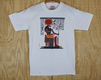 Vintage 1980's 1986 Egypt Egyptian Hieroglyphs Horus Cotton Oneita T Shirt T-shirt Tee Small Medium S / M