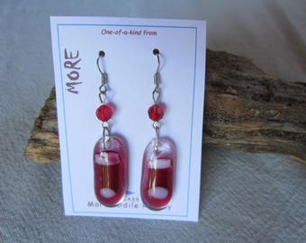 Carmine red glass with faceted beads earrings