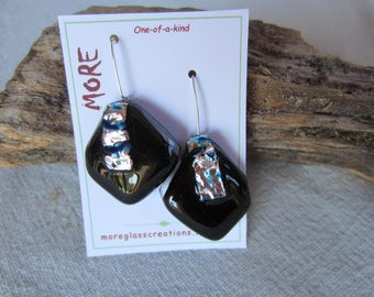Earrings black glass with inclusion Blue Metallic Silver