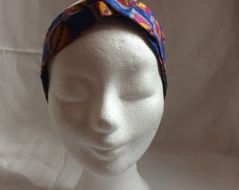 Hair Band in blue African fabric/hair accessory/headwrap/adult