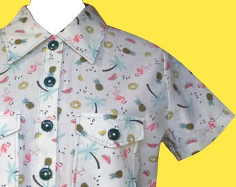 Pineapple Palm trees and flamingos pattern off white cotton blouse