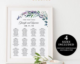Green Leaves Seating Chart Template, 16x20, 18x24, 20x30, 24x36, Instant Download Printable, Editable PDF, EWSC003