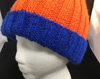 Fun Team Hat Handknit in Orange and Blue with Pompom