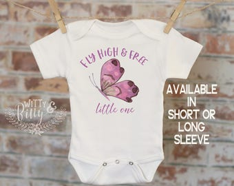 Fly High And Free Little One Butterfly Onesie®, Butterfly Onesie, Cute Baby Bodysuit, Cute Onesie, Boho Baby Onesie, Girl Onesie - 179F
