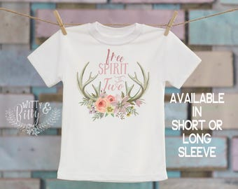 Free Spirit At Two Antlers T-Shirt, Birthday Shirt, Customized Shirt, Cute T-Shirt, Boho Kids, Woodland Animals Shirt - 186F