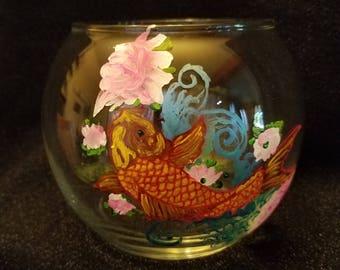 Orange Koi Globe Glass