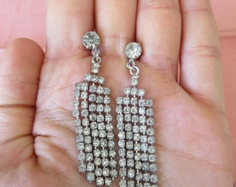 Vintage Dangling Rhinestone Pierced Earrings, Elegant Paste Jewelry, Bridal Wear