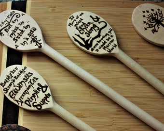 Po-tay-toes boil em mash em stick em in a stew Hobbiton inspired Wooden Spoon-  JRRT, wedding gift, Housewarming gift, geek, potatoes potato