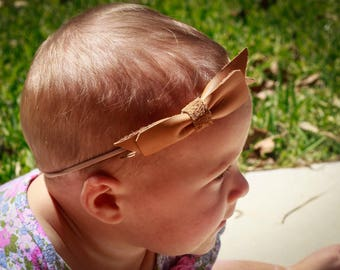 2 Layer Leather Bow with Headband - Baby Gift - Baby girl - Baby Shower -Baby Bow - Baby Headband
