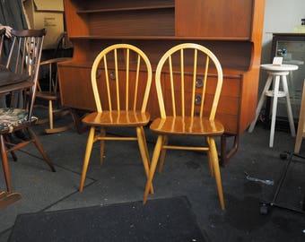 2 Original Vintage Ercol Windsor 4a/400 Blonde Chairs