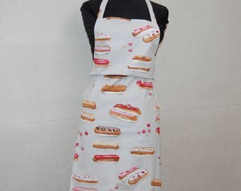 Apron pattern pastries flashes pink and gray