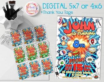 Super Hero invitation download. Super Hero invite. Super Hero party invitation. Super Hero birthday invitation