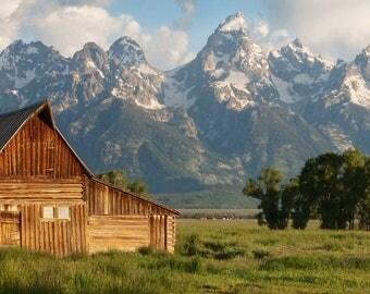 Grand Tetons National Park, Wyoming, Landscape Photo, Old Rustic Barn, Fine art, Western decor, Panoramic photo, Mormon row, Home Decor