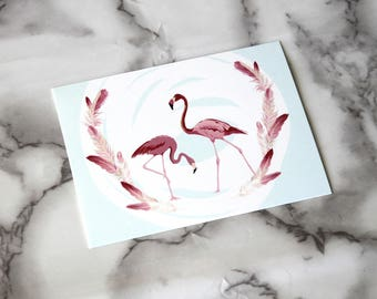 Beautiful Boho Pink Flamingo Blank Card, Romance Theme Postcard, Retro Card Gifts, Birthday Gifts For Her, Couples Valentines Day Postcard