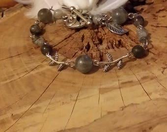Bracelet Labradorite 19.5 cm et métal argenté - Pierres de protection et d'énergie. par AngelS SignS