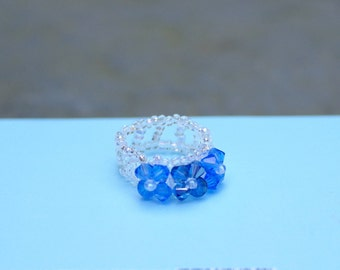 Two-Toned Blue Swarovski Flower Ring