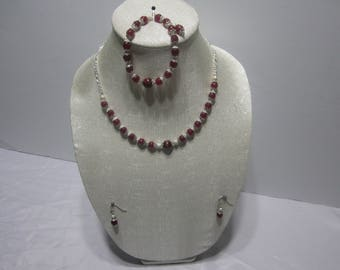 Handmade Agate, Tiger Eye Necklace Set