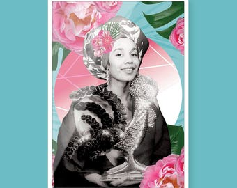 Carmen de Lavallade - Black Art - Collage Art - Black Girl Magic - Vintage Black Glamour - Wall Art - Art Print - A4 - Black on Paper