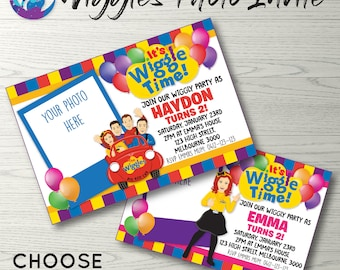 Wiggles Photo Invitation, Wiggles Invitation, Wiggles Birthday Invitation, Wiggles Party Invitation, Emma Wiggle Invitation, Photo Invite