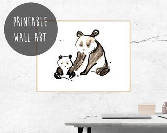 Cute Panda Bears, Digital Download, Nursery Print, Mother Bear and Cub, New Baby Gift, Baby Shower Gift, Modern Wall Decor, Instant Download
