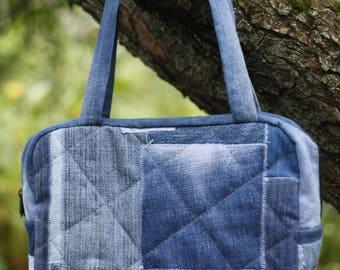 Denim bag, Recycled denim bag,  blue jeans bag, recycled jeans, beach bag, vintage bag, vintage jeans