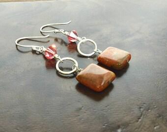 Dangle Earrings, Swarovski Earrings, Sterling Silver Earrings, Gemstone Earrings, Orange and Brown Earrings, Coral Earrings, Gift for Her