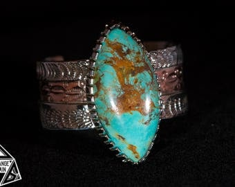 Women's • Sterling Silver • Turquoise Cuff • Tyrone Turquoise • Bracelet • New Mexico Turquoise • Boho