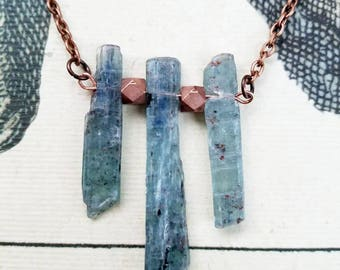 Raw Aquamarine Crystal Gemstone Necklace with Copper Bead Accents - March Birthstone Jewelry, Aquamarine Necklace, Aquamarine Jewelry, Blue