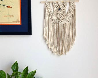 Macrame Wall Hanging on a Wooden Dowel with Blue Jasper Crystal, Woven Wall Hanging, Boho Hippie Tapestry, Bohemian Decor