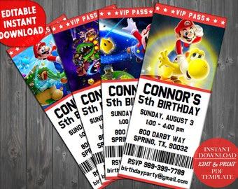 Super Mario Invitations, Super Mario Bros Invitations, Super Mario Birthday Invite, Super Mario Party Invitation, Super Mario Bros Birthday