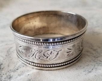 1919 Hallmarked Birmingham Silver Napkin Ring Monogrammed, Very Pretty