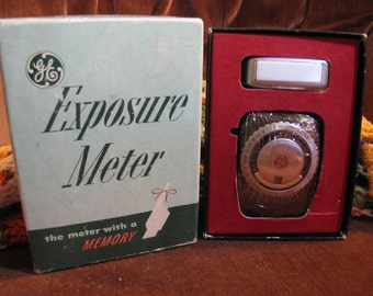 Vintage GE Exposure Meter PR-1 General Electric Photography Accessory w Synchronized Trident Analyzer w Original Box and Manuals circa 1951