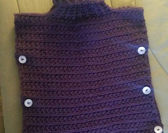 Plum t18mois, handmade poncho hand (can make in other sizes and/or colors on request)