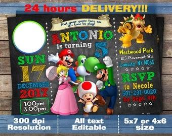 Super Mario invitation, Super Mario birthday, Super Mario birthday invitation, Super Mario Invite, Super Mario Tag, Super Mario Printable