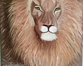 Large Lion oil painting Lion wall art  Lion on canvas Lion home decor Animal art Painting of lion Leo painting  Leo zodiac Free shipping