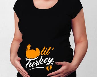 Thanksgiving Pregnancy Announcement Maternity Shirt Expecting Mother Pregnant T Shirt Turkey Day Thanksgiving Turkey Holiday Tee TEP-47