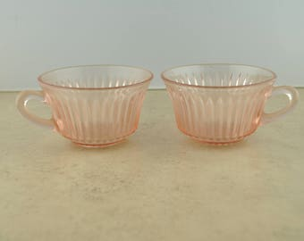 Queen Mary Pink Depression Glass Cup - Set of 2