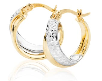 9ct Two Colour Gold Crossover Diamond Cut Hoop Earrings 12mm 15mm 18mm