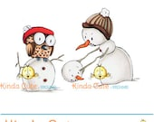 Snowman Digital Stamp. Snowman and owl (black/white only). Christmas digital stamp.