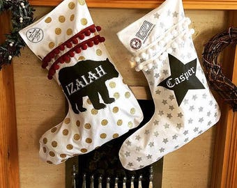 personalised christmas stockings| stocking filler |first xmas keepsake | several designs to pick from