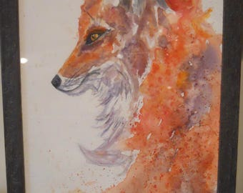 Fox with Intent Original Watercolor