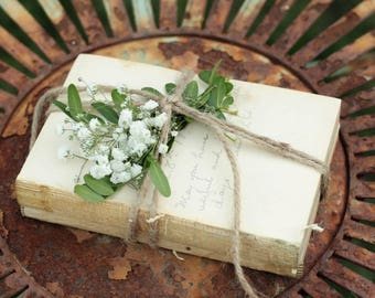 Unbound Book Mini Centerpiece, Stack of 2 Small Vintage Unbound Books Wrapped in Twine, Rustic Wedding Centerpiece, Naked Book Stack