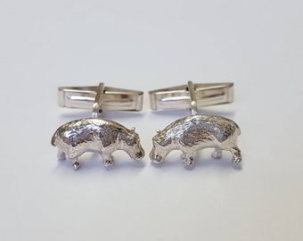 Hippopotamus Cufflinks in .925 Sterling Silver