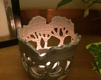 Blue Tree Themed Candle Holder