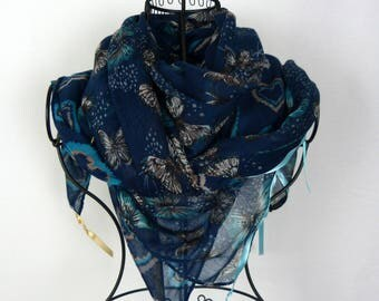 Large blue square scarf collection 180, large shawl, black, blue, winter scarf heart scarf