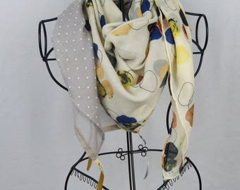 Brown square scarf collection 120, shawl, scarf, grey scarf, scarf woman scarf polka dots, yellow scarf